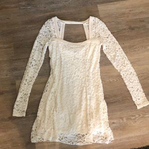 Women's white lace dress long sleeve free people